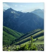 1m5903-wallowa Mountains And Valley Of The East Fork Fleece Blanket