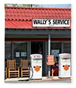 Wally's Service Station Mayberry Nc Fleece Blanket