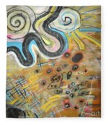 Wandering In Thought2 Original Abstract Colorful Landscape Painting For Sale Yellow Blue Green Fleece Blanket