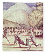 War Dance, Illustration From The Albert Nyanza Great Basin Of The Nile By Sir Samuel Baker, 1866 Wc Fleece Blanket