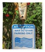 Veteran Parking Sign Fleece Blanket