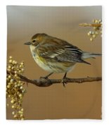 Yellow Rumped Warbler Fleece Blanket