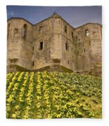 Warkworth Castle In The Sky Fleece Blanket