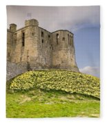 Warkworth Castle With  Daffodils Fleece Blanket