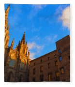 Warm Glow Cathedral - Impressions Of Barcelona Fleece Blanket