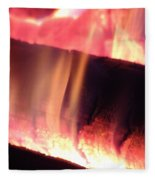 Warm Glowing Fire Log Fleece Blanket