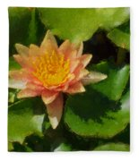 Warm Yellows Oranges And Corals - A Waterlily Impression Fleece Blanket