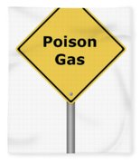 Warning Sign Poison Gas Fleece Blanket