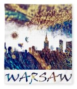Warsaw Skyline Postcard Fleece Blanket