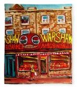 Warshaw's Bargain Fruit Store Rue St Laurent Montreal Paintings City Scene Art Carole Spandau Fleece Blanket
