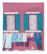 Washing Day Burano Venice Fleece Blanket