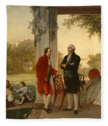 Washington And Lafayette At Mount Vernon Fleece Blanket