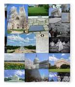 Washington D. C. Collage  Fleece Blanket