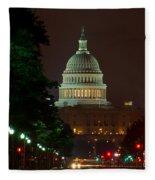 Washington Dc At Night Fleece Blanket