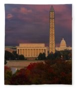 Washington Dc Iconic Landmarks Fleece Blanket