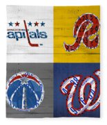 Washington Dc Sports Fan Recycled Vintage License Plate Art Capitals Redskins Wizards Nationals Fleece Blanket