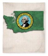 Washington Map Art With Flag Design Fleece Blanket