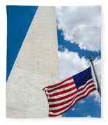 Washington Monument And Flag Fleece Blanket