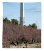 Washington Monument Reflected In Tidal Basin And Surrounded By P Fleece Blanket
