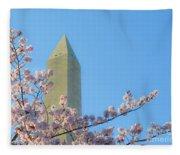 Washington Monument With Blossoms Fleece Blanket