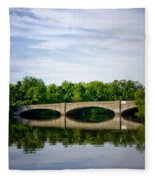 Washington Road Bridge Over Lake Carnegie Princeton Fleece Blanket