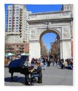 Washington Square Pianist Fleece Blanket