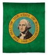 Washington State Flag Art On Worn Canvas Fleece Blanket