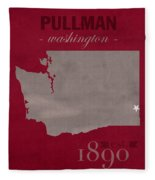 Washington State University Cougars Pullman College Town State Map Poster Series No 123 Fleece Blanket