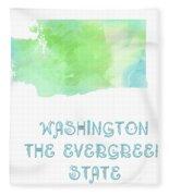Washington - The Evergreen State - Map - State Phrase - Geology Fleece Blanket