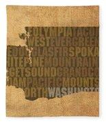 Washington Word Art State Map On Canvas Fleece Blanket