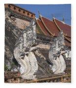 Wat Chedi Luang Phra Chedi Luang Five-headed Naga Dthcm0052 Fleece Blanket