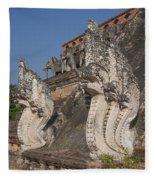 Wat Chedi Luang Phra Chedi Luang Five-headed Naga Dthcm0054 Fleece Blanket