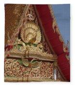 Wat Luang Pu Supa Ubosot Gable Dthp330 Fleece Blanket
