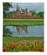 Wat Mahathat In13th Century Sukhothai Historical Park-thailand Fleece Blanket