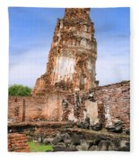 Wat Mahathat Temple In Ayutthaya Fleece Blanket