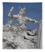 Wat Rong Khun Ubosot Causeway Guardian Dthcr0008 Fleece Blanket