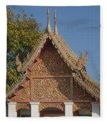Wat Sri Don Chai Phra Ubosot Gable Dthcm0095 Fleece Blanket