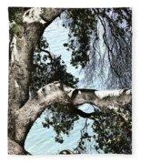 Water Beyond The Tree Fleece Blanket