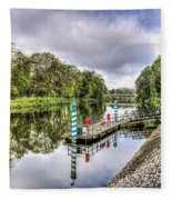 Water Bus Stop Bute Park Cardiff Fleece Blanket
