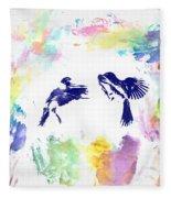Water Color Bird Fight Fleece Blanket