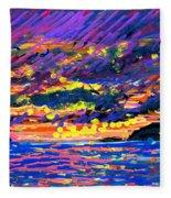Water Island Sunset Fleece Blanket
