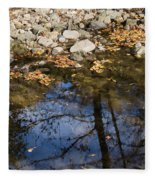 Water Leaves Stones And Branches Fleece Blanket