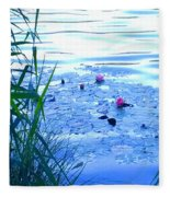 Water Lilies Blue Fleece Blanket