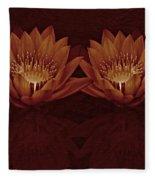 Water Lilies In Deep Sepia Fleece Blanket