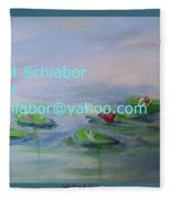 Water Lilies Print Fleece Blanket