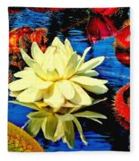 Water Lilly Pond Fleece Blanket