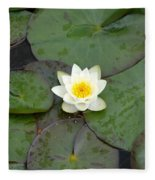 Water Lily - White Fleece Blanket