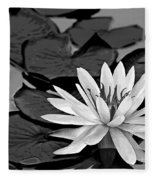 Water Lily Black And White Fleece Blanket