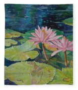 Water Lily In The Morning Fleece Blanket