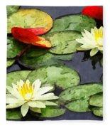 Water Lily Pond In Autumn Fleece Blanket